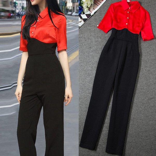 2019 Yaz Kadın Kırmızı Siyah Şifon Patchwork Tulumlar Playsuits Bodysuits OL Lady Yüksek Bel Ince Iş Ofis Iş Elbisesi