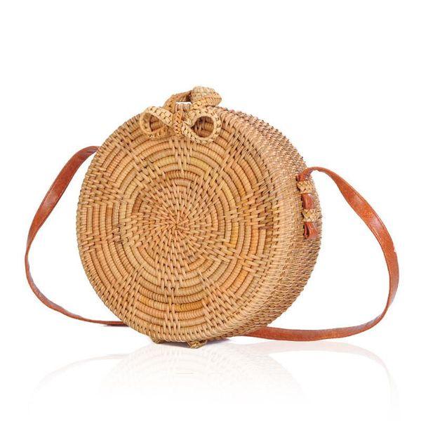 good quality 2019 New Summer Handmade Autumn Rattan Woven Round Storage Bag Female Retro Art Straw Handbag Casual Beach Shoulder Bags