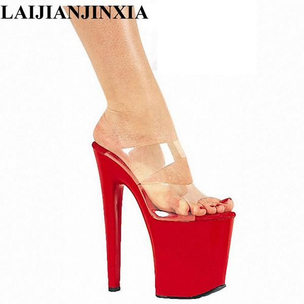 LAIJIANJINXIA New 20cm High-Heeled Shoes Sexy 8 Inch Heel High Platform Slip On Sexy Stripper Shoes Open Toe Women's