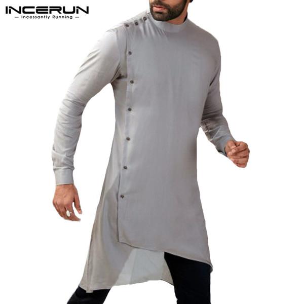 남성 셔츠 쿠르 타 슈트 긴 소매 무지 버튼 불규칙한 밑단 남성 캐주얼 셔츠 이슬람 이슬람 셔츠 옷 플러스 사이즈 INCERUN
