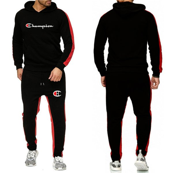 2019 Mens Brand Tracksuit Hooded Sportswear Long Sleeve Hoodie Pullover Pants Leggings 2 Piece Set Sweatsuit Sport Suit 5522