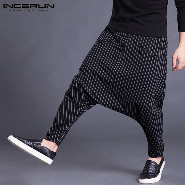 INCERUN 2019 Autumn Mens Harem Pants Elastic Waist Stripe Pockets Casual Loose Drop Crotch Trousers Men Streetwear Hip-hop Pants Y19060601