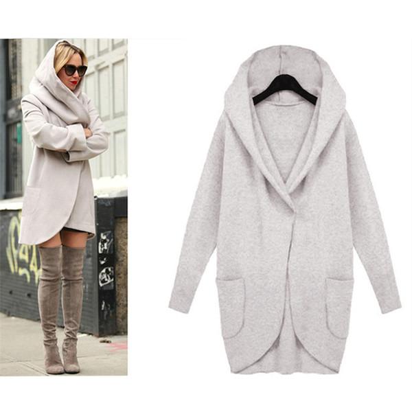 Drop Shipping Güz Kış Coat Kadınlar Trençkotlar Cep Uzun Kollu Kapşonlu Kadın Palto Pamuk Karışımı Hırka hoodies coat