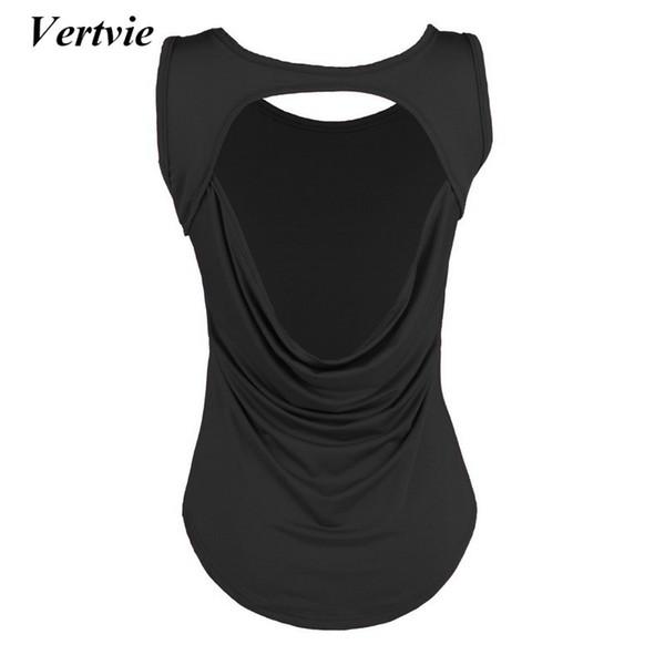 Vertvie Woman Gym Shirt Open Back Sport Yoga Top For Women's Sweatshirt Sports T-shirt Women Fitness Wear Female Workout Tops