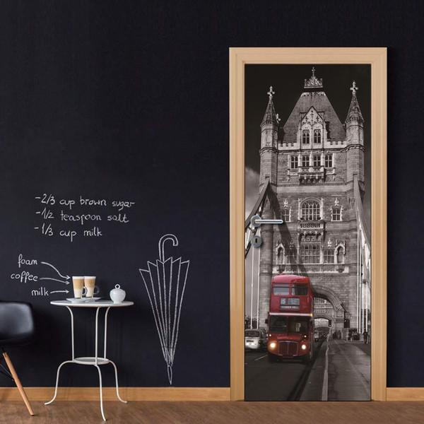 Wholesales DIY Door Sticker UK Bus On Bridge Door Decal for Bedroom Living Room wallpapers Decal home accessories