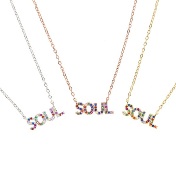Fashion 2019 Tiny Dainty Initial Personalized Letter SOUL Necklace nice Jewelry for women accessories girlfriend gift 3 color