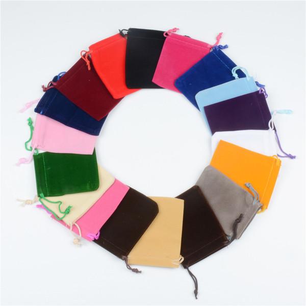 50pcs 7x9cm 9x12cm sac de velours coloré bijoux emballage paquet de velours poche cadeau sac bijoux stockage