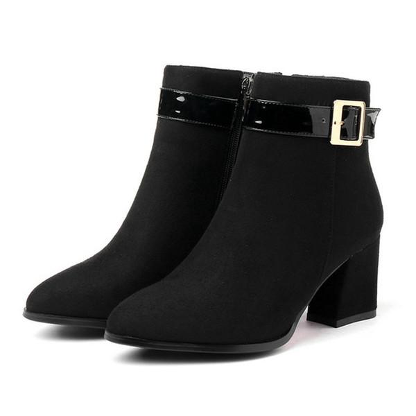 Größe 33-43 weibliche Reißverschlüsse spitzen Zehen Stiefeletten Dame Winter Karriere Kleid Schuhe Frau Schnalle Mode Boot Frauen dicke Fersen Schuh