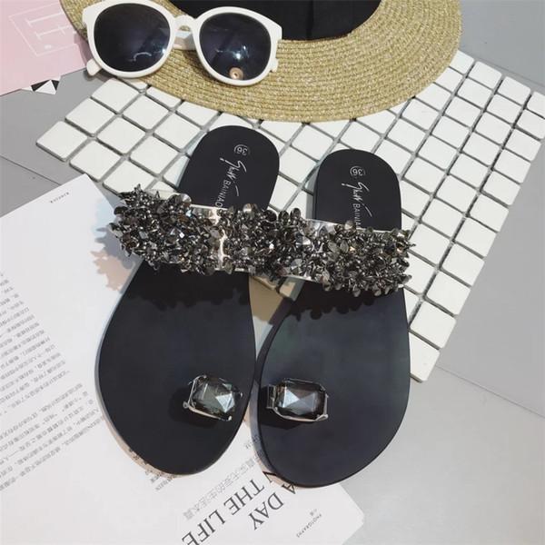 Сандалии женские сандалии летние туфли клин горный хрусталь сандалии слип