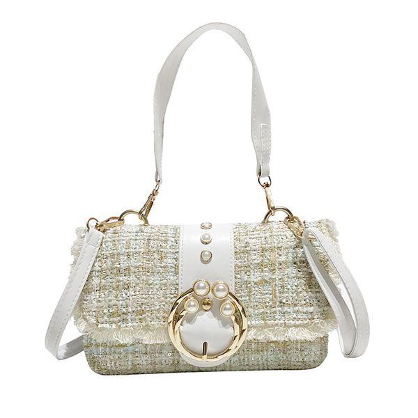 Women Small Tide Woolen Hit Color Pearl Handbag Wild Single Shoulder Bag Luxury Handbag Cover Square Messenger Bags