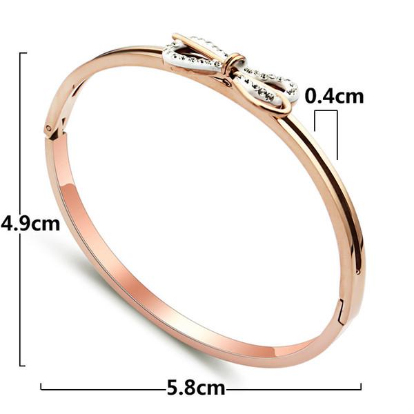 2019 marca bijoux aço inoxidável rose gold butterfly tie um nó pulseira para woma chapeamento de ouro18 k com cristal cz para a mulher presente para escolher