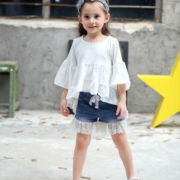 Girls Shirts Fashion England Style Baby Girl Half Sleeve Clothes Hot Sale Cotton Ruffles Solid Irregular Tops