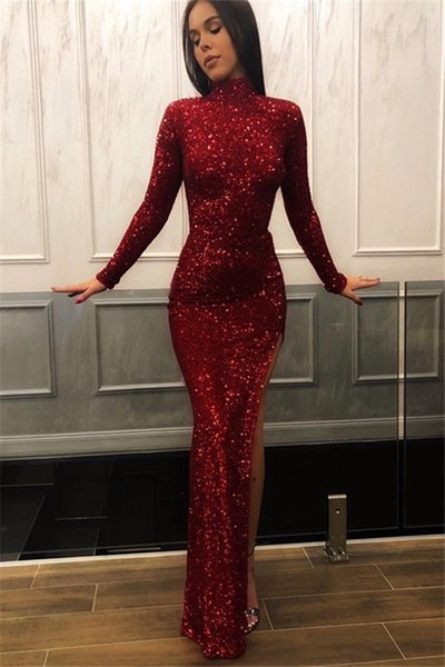 Burgundy Long Sleeves Sequins Evening Dresses Cheap High Neck Slit Side Prom Dresses robes de soirée crystal Gowns Guest Dress Abendkleider