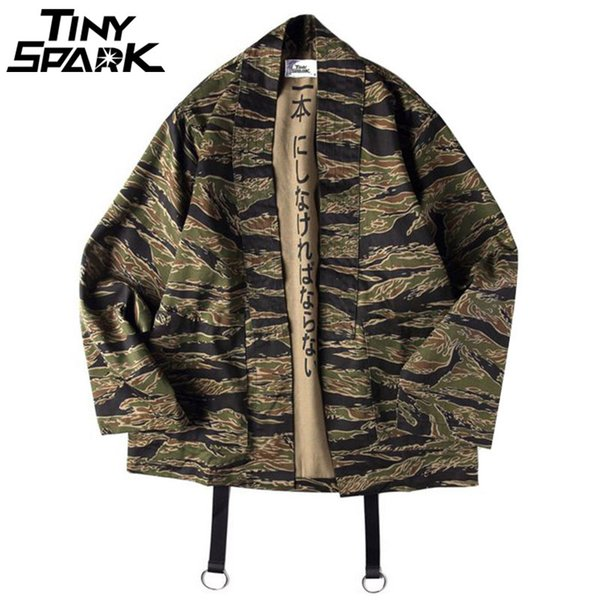 Mens Camo Jacket Japanese Style Clothes Streetwear Casual Camouflage Kimonos Jacket Harajuku Cardigan Outwear Autumn 2018MX190926