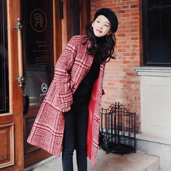 winter Women red Wool Coat Plaid Women Loose Long Single-breasted Woolen Coat Winter straight Woolen Overcoat Coats