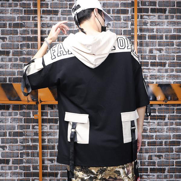 T-shirt de manga do meio do impacto impressionante cor do boné do punk do punk manga de cinco minutos do homem do alfabeto hip-hop