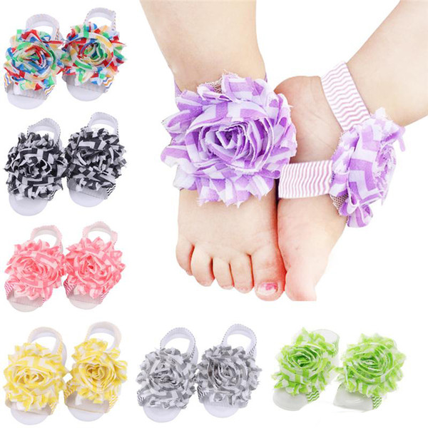 Baby Sandals Flower Shoes Barefoot Foot Flower Ties Infant Girl Kids First Walker Shoes Wave Folds Chiffon Flower baby girl shoes
