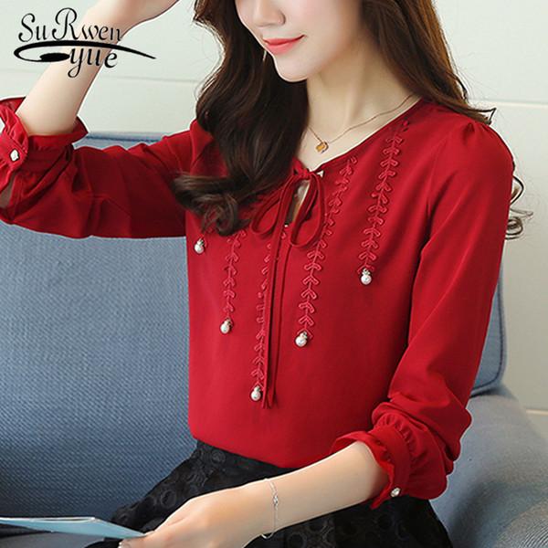 Nouveau 2019 Mode Mousseline de Soie Femmes Chemise Blouse Manches Longues Rouge Vêtements Femmes Grandes Tailles Col en V Perles Femmes Haut Blusas 80b 30MX190824