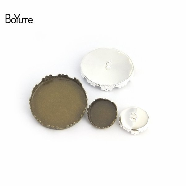 accessories parts BoYuTe 20Pcs Round 12 15 20MM 25MM Cameo Cabochon Base Blank Button Tray Bezel Metal Copper Diy Jewerly Accessories Parts