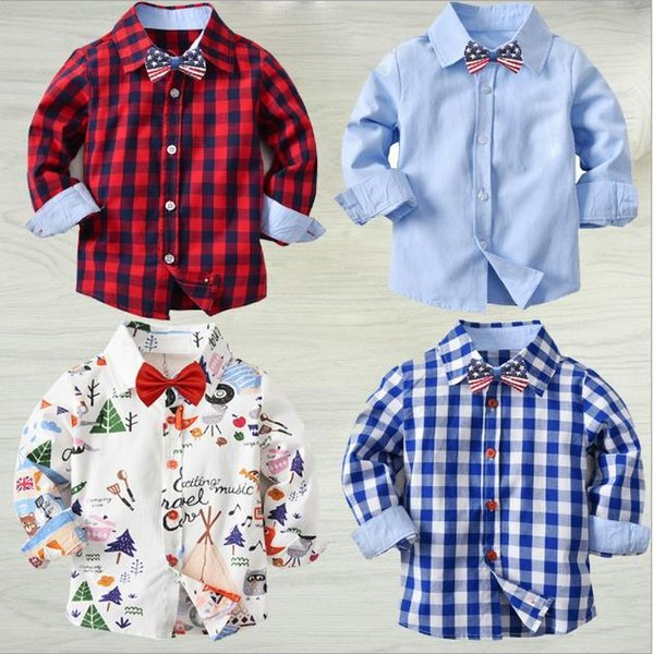 2020 Handsome look Boy Red Checkered Shirt Contrast Color Black Checks Shirts Mix Different Size 10pcs/lot