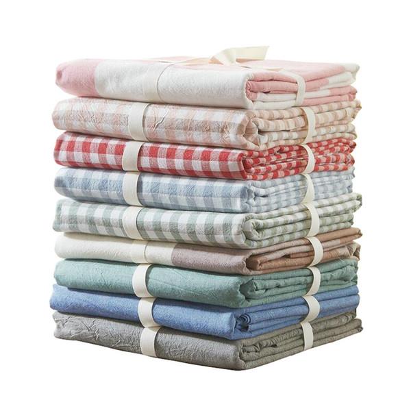1 Stück Flaches Blatt 100% Gewaschener Baumwolle Home Bettlaken Plaid / Streifen Gedruckt Feste Weiche Twin / Full / Königin / King Size