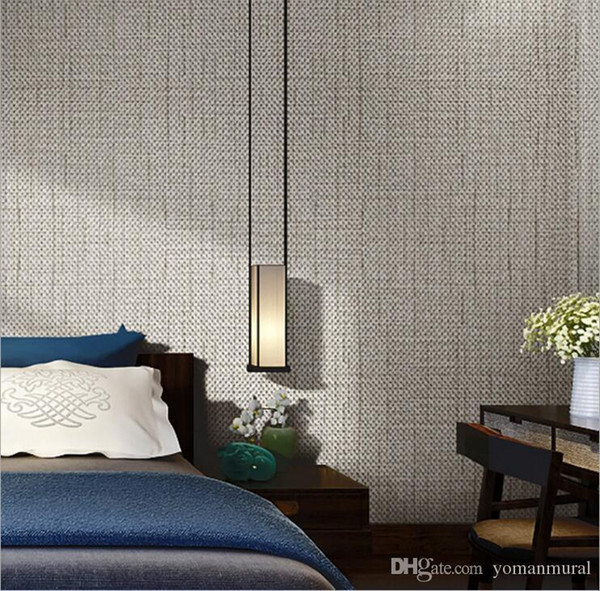 Modern Linen Wallpapers Designs Beige Brown Non-woven Flax 3D Textured Wallpaper Plain Solid Color Wall Paper for Living Room