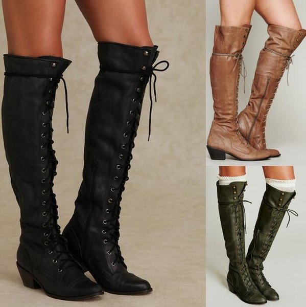 Pop 2019 Woman Motorcycle Boots Over The Knee Zip Cross Tied Ladies Shoes Rivets Spike Low Heel Girls Punk Booties Sapato Feminino