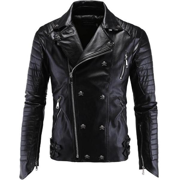 men leather jacket pu clothing boutique punk leather jacket men new skull motorcycle multi zippers slim fit m-5xl