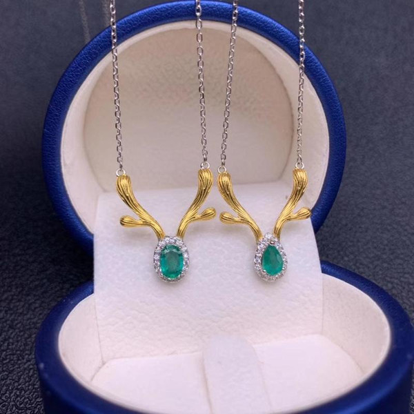 top popular horn style exquisite green natural emerald necklace for women silver jewelry round natural gem date love gift lucky birthstone 2021