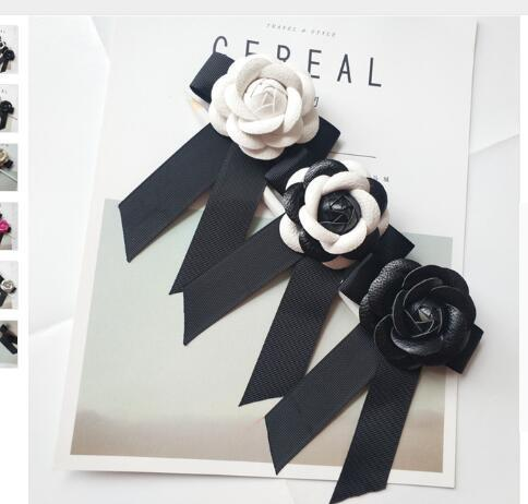 ALady Fashion High Quality Genuine Leather Camellia Flower Bow Brooches Big Size Ribbon Bowknot Brooch Pins 8 Colors