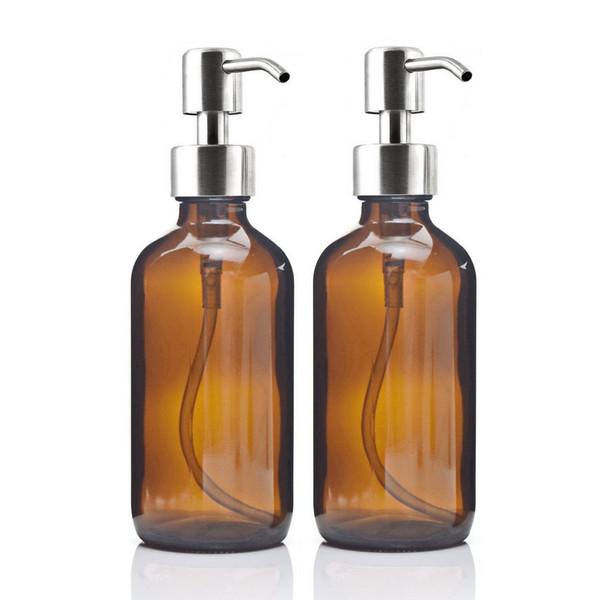 12 pcs 8 oz grande 250 ml dispensador de sabão líquido bomba de aço inoxidável para óleos essenciais caseiro loção rodada âmbar garrafa de vidro