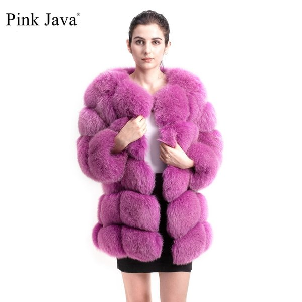 java rosa QC8078 VENDA GRANDE TRANSPORTE LIVRE toda casaco de pele verdadeira raposa Real Fotos mulheres inverno longo mangas raposa casaco de peles MX191207