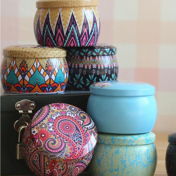 Forma redonda Caja de regalo de té Estilo étnico Flor Estaño Caja de almacenamiento Papelería Dulces Mujeres Joyería Organizador de almacenamiento