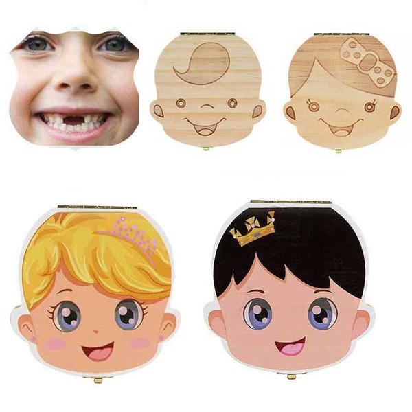 Dutch English Italy Wood Storage Box For Baby Kids Tooth Box Organizer Storage Box For Baby Milk Teeth Collect Organizador