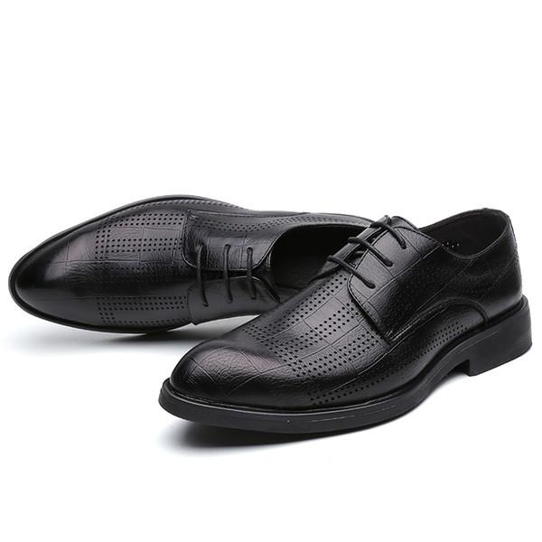 Scarpe estive da uomo convenzionali traspiranti con punta a punta traspirante comfort estivo imbottito Derby Oxford da uomo nero taglia 6 ~ 10