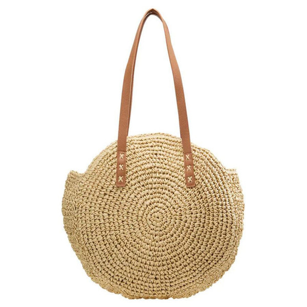 good quality Bali Island Straw Bag Hand Woven Bag Round Women Bohemia Beach Circle Bags High Capacity Shoulder Knitting Bag Phone Pocket