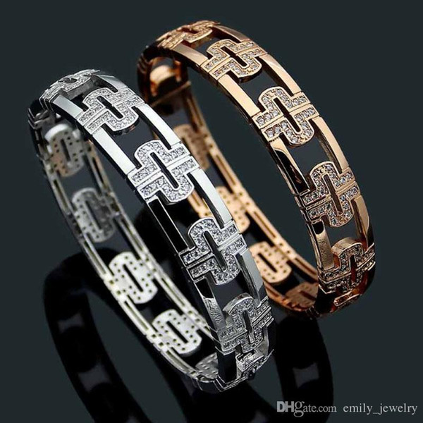 Titanium steel jewelry B letter hollow back shape full diamond bracelet Women's back word diamond bracelet