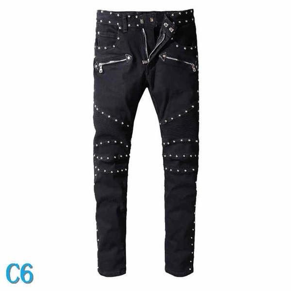 Jeans Hommes Fashion Style Distressed Ripped Biker Jeans Slim Fit Motard Jeans Denim Marque PantsC6