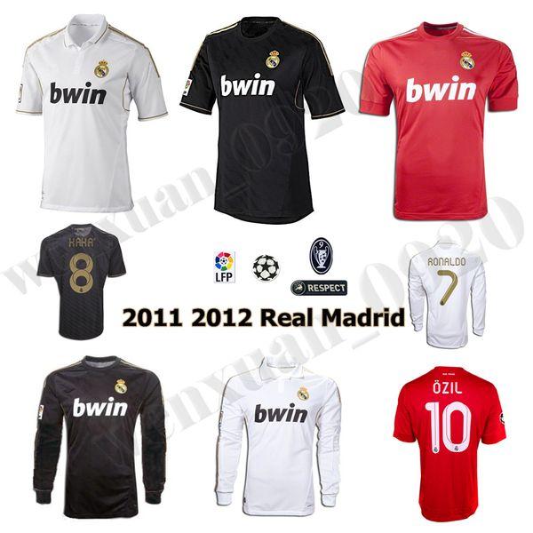 Maglia da calcio Real Madrid 2011 2012 11 12 Maglia retrò da fuoricampo Champions League RAMOS KAKA RONALDO BENZEMA ALONSO maglia classica