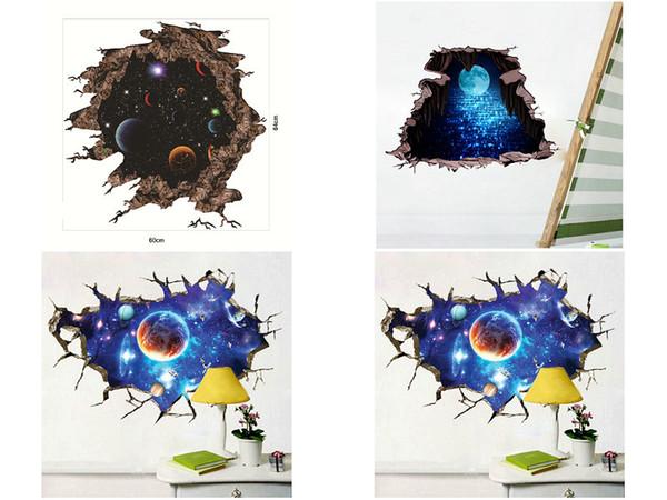 vendita al dettaglio 3d parete rotto spazio adesivi murali pianeta Decalcomania per bambini camera da letto soggiorno Decorazioni Home Decor adesivo immagini arte Wallpaper