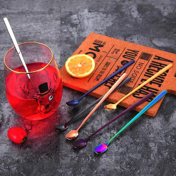 Barra de mango largo cuchara mezcladora cuchara de hielo 304 de acero inoxidable postre cuchara de café tipo pala barra cuchara cuchara cubiertos