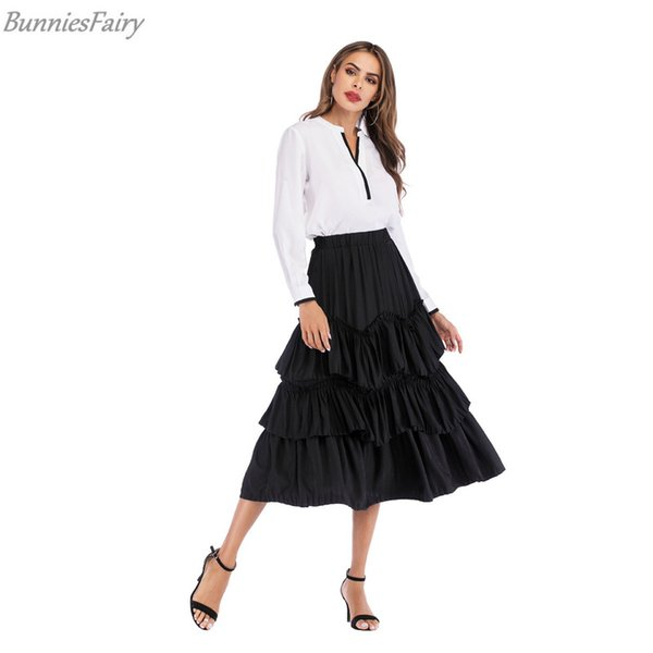 bunniesfairy 2019 summer new women vintage retro pure-color multi layer cake pendant long midi skirt tutu, Black