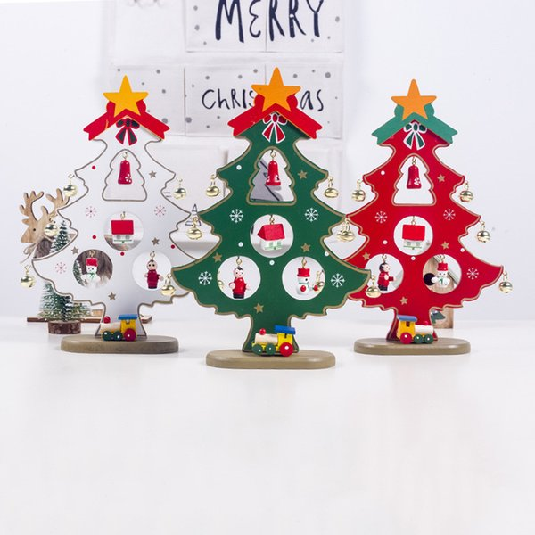 New Home Ornament 2020.New Year 2020 Creative Diy Wooden Christmas Tree Decoration For Home Navidad Jingle Bells Ornament Noel Tree Table Desk Decor Christmas Decorations