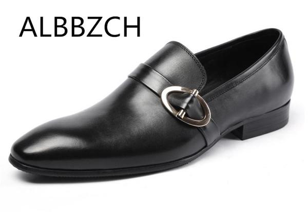 ALBBZCH Elbise Erkekler ayakkabı Moda Slip-on Hakiki Deri Düğün ayakkabı erkek Iş Rahat Siyah Boyutu 38-44