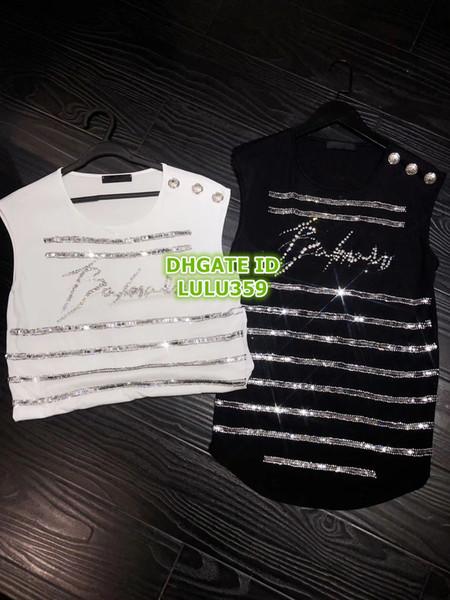 Summer Women Letter Rhinestone T-Shirt With Beads Letter Tee Crew Neck T-Shirt Sleeveless Female Tee S-L