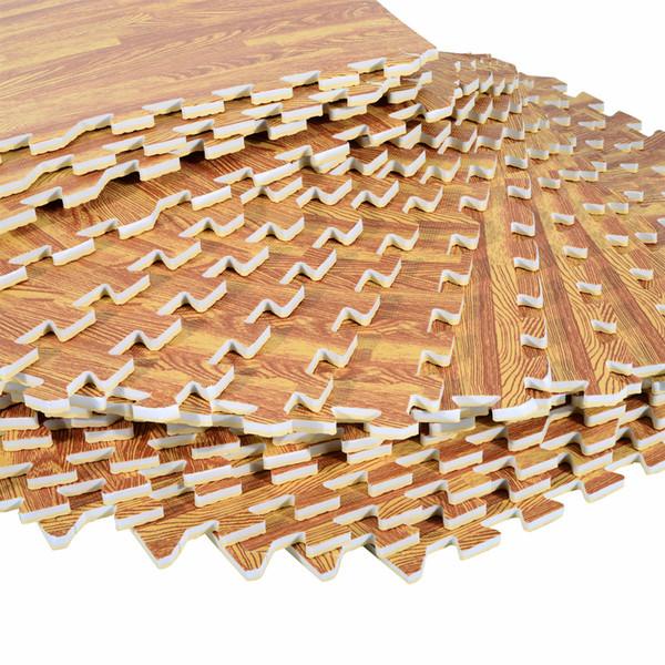Soozier 72 SqFt Alfombras de piso entrelazadas de grano de madera EVA Foam GYM Puzzle Mat Tiles