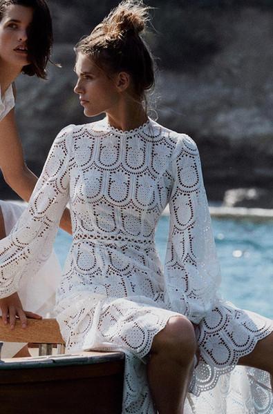 Diseñador de la marca de lujo ahueca hacia fuera las mujeres maxi vestidos 2019 primavera verano moda collar de manga larga bordada larga fiesta blanca túnicas