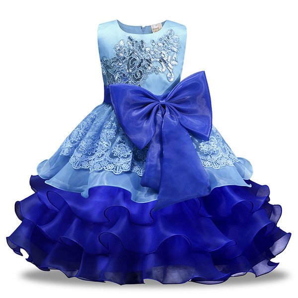 Varejo Do Bebê meninas rendas lantejoulas Bordado vestido de baile vestido de noiva com grande arco crianças plissada vestido de princesa saia das crianças boutique de roupas