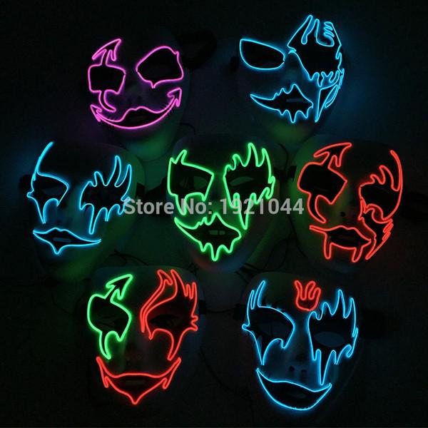 2017 Ventes Chaudes El Fil Lumière Up Neon Glwoing Masque Rave Personnalisé Nuit Fluorescent Masque Pour Event Party Fournitures