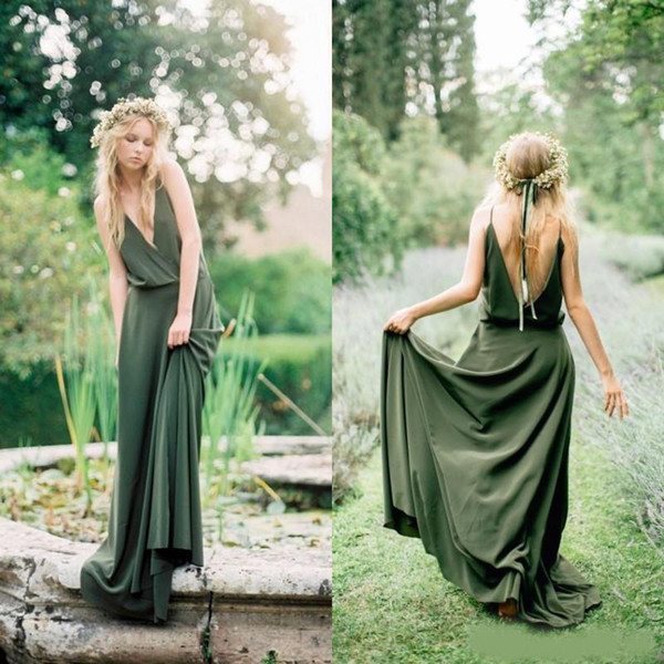 Bohemian Olive Green Chiffon Country Bridesmaid Dresses 2019 New Cheap Sexy Spaghetti Backless Long Maid Of Honor Gowns Custom